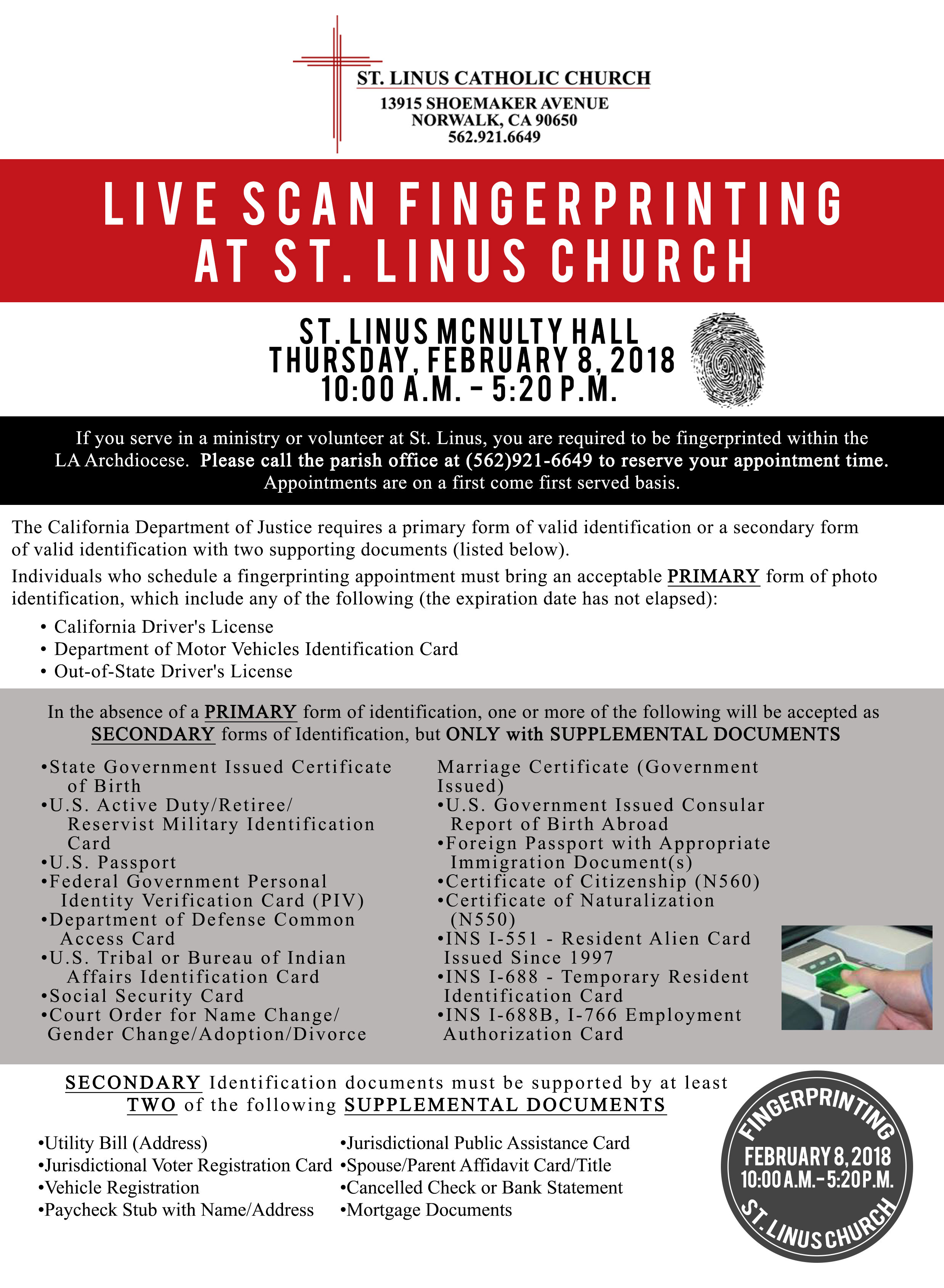 Live scan fingerprinting st linus catholic church norwalk ca mortgage documents aiddatafo Image collections